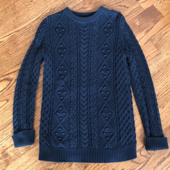 Zara Sweaters Navy Blue Cable Knit Sweater Poshmark